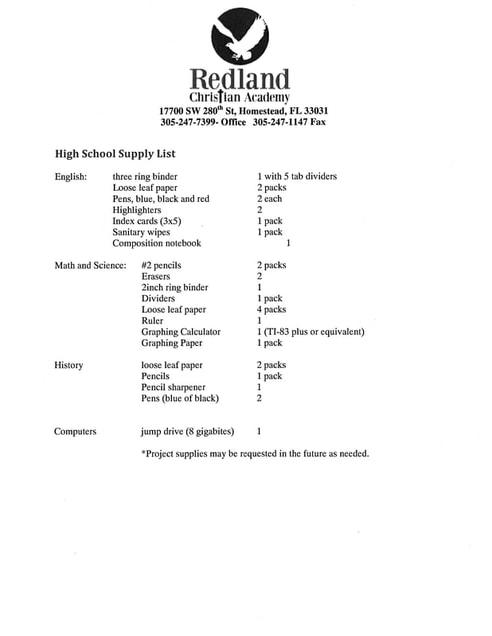 High School Supply List Redland Christian Academy